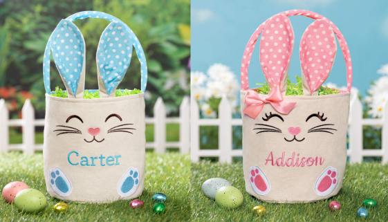 Customized Easter baskets - Easter bunny bucket bags