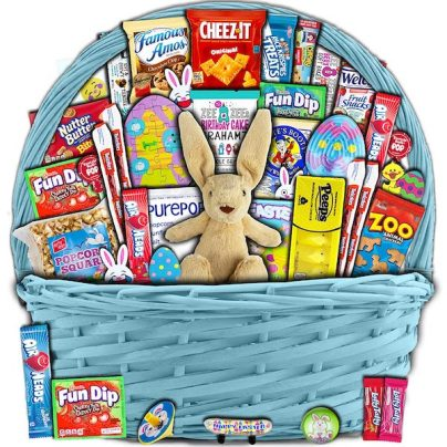 Filled kids Easter basket with plush bunny, snacks, and candy