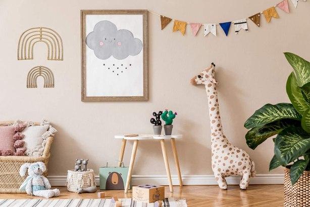 Wooden rainbow baby nursery wall decor