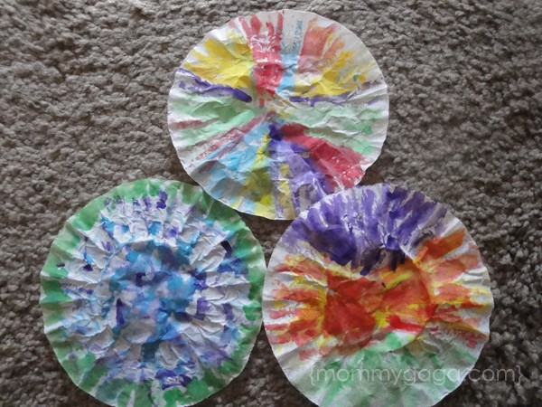 Painted coffee filters for butterfly craft