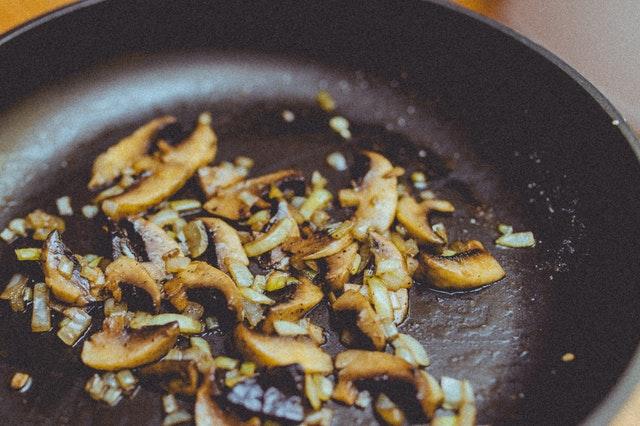 Saute butter onion garlic mushrooms in skillet
