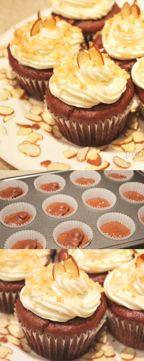 Easy Almond Joy Cupcakes Recipe - If you're a fan of the delicious chocolate, almonds, and coconut in an Almond Joy candy bar, you'll love these this easy almond joy cupcakes recipe!