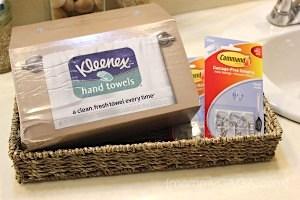 Kleenex hand towels in a basket