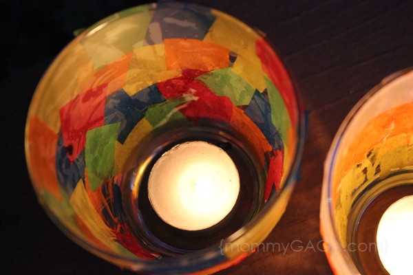 Inside of stained glass candle craft, lit tea lights