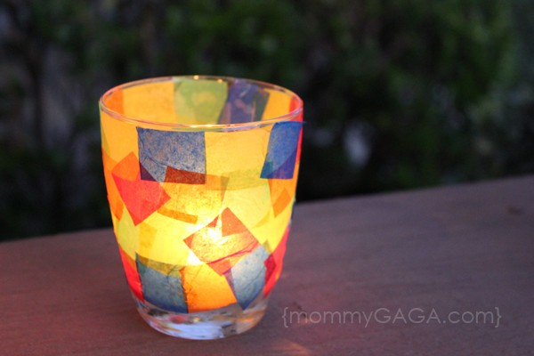 Stained glass votive candle holder craft - so easy to make!