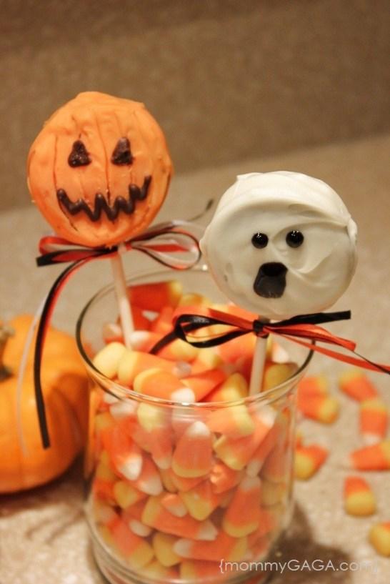 Halloween Oreo Pops, Pumpkin and Ghost