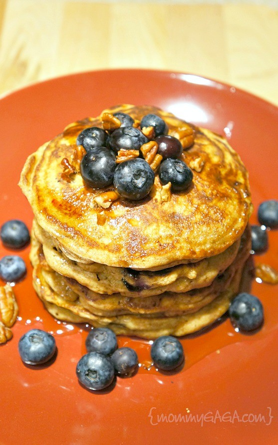 Brown Butter Blueberry Pecan Whole Wheat Pancakes