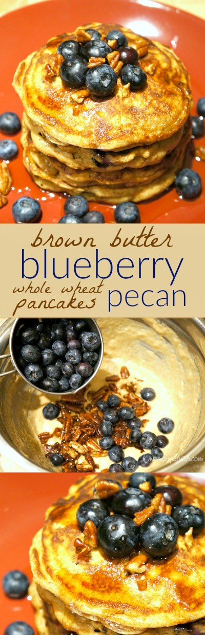 Brown butter blueberry pecan whole wheat pancakes recipe - this is what we're having for Sunday morning breakfast.