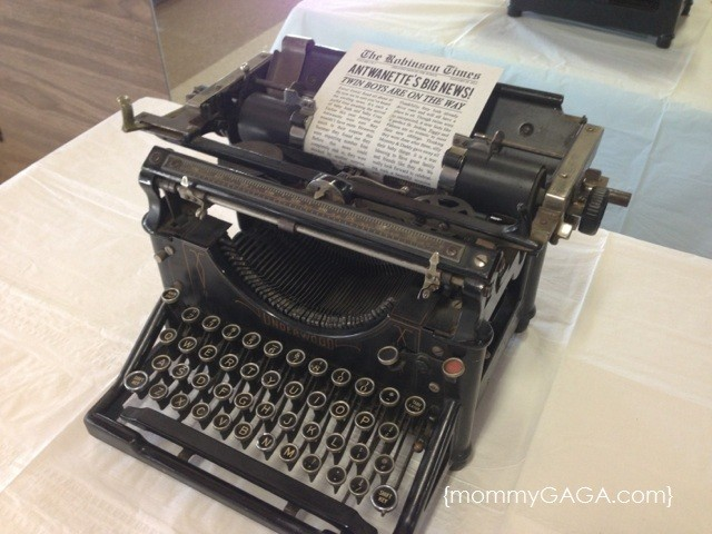 Old typewriter for newspaper themed baby shower