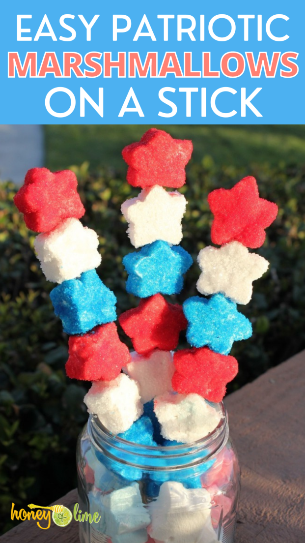 Cute Fourth of July Patriotic Marshmallows on a Stick