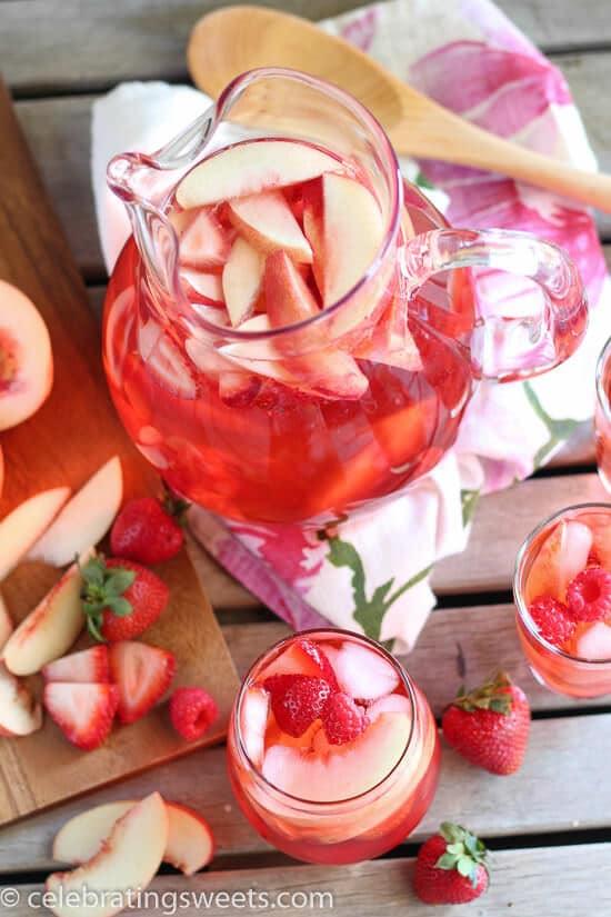 Fresh Peach Rose Sangria recipe