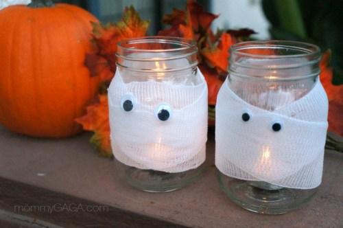 Mason Jar Mummy Candles Halloween Craft