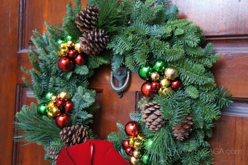 Live Fresh Christmas Wreaths with ornaments