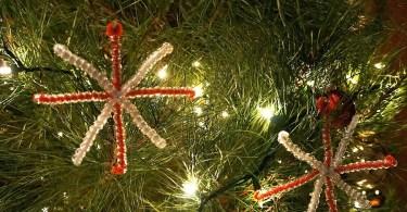 Homemade Snowflake ornaments craft for Christmas
