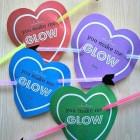 Valentines Day glow stick free printable valentine cards