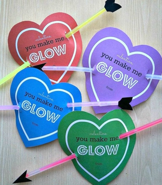 Free printable Cupid heart glow stick Valentines