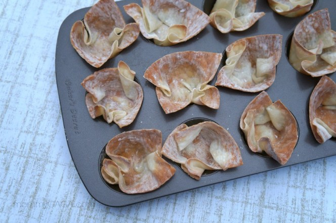Use a muffin pan to make mini wonton cups