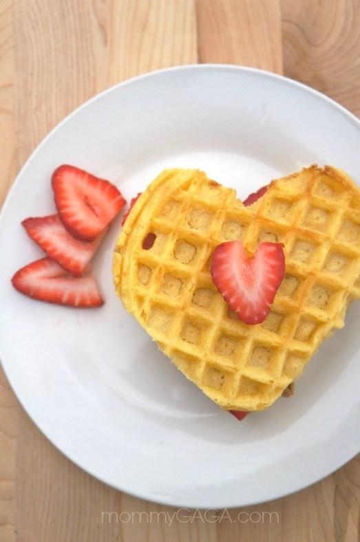 Strawberry heart waffles recipe for Valentine's Day Breakfast
