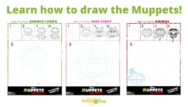 Learn how to draw the Muppets - Miss Piggy, Kermit the Frog, and more