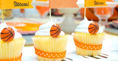 Basketball cupcakes for March Madness party