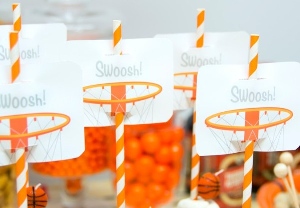 Printable basketball party straw toppers for your March Madness themed party