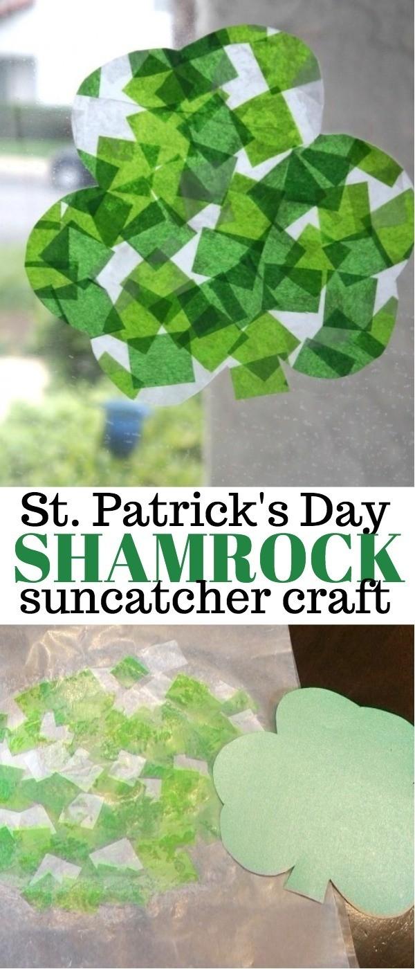 St Patricks Day Craft - Paper Shamrock Suncatcher craft idea with Tissue Paper | shamrock crafts | shamrock suncatcher | shamrock crafts for kids | st patty's day crafts | honeyandlime.co