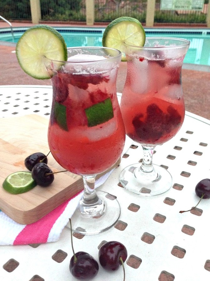 Cherry Lime Spritzer Mocktail Non Alcoholic Drink-Recipe. Delicious and refreshing!