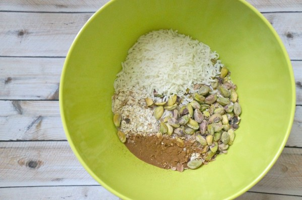 Cherry Pistachio Granola ingredients in a bowl