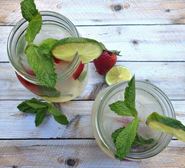 Summer alcoholic drinks mint vodka lemonade