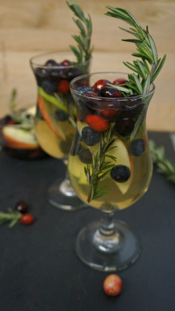 Holiday cocktails - Cranberry rosemary white wine sangria recipe
