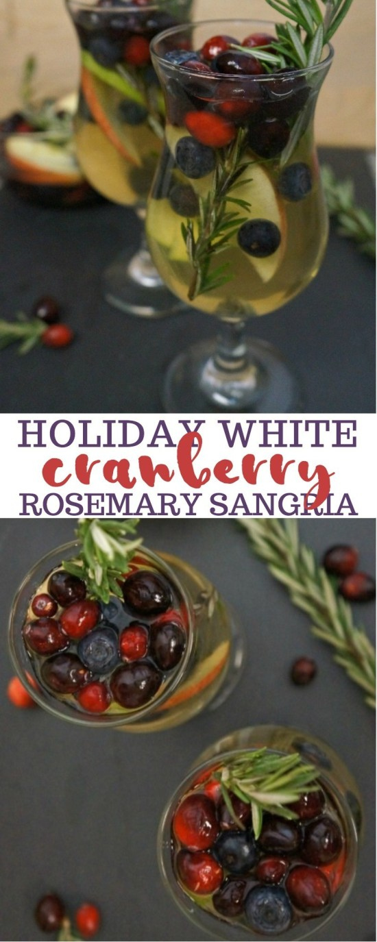 Holiday White Cranberry Sangria Drink Recipe with Rosemary