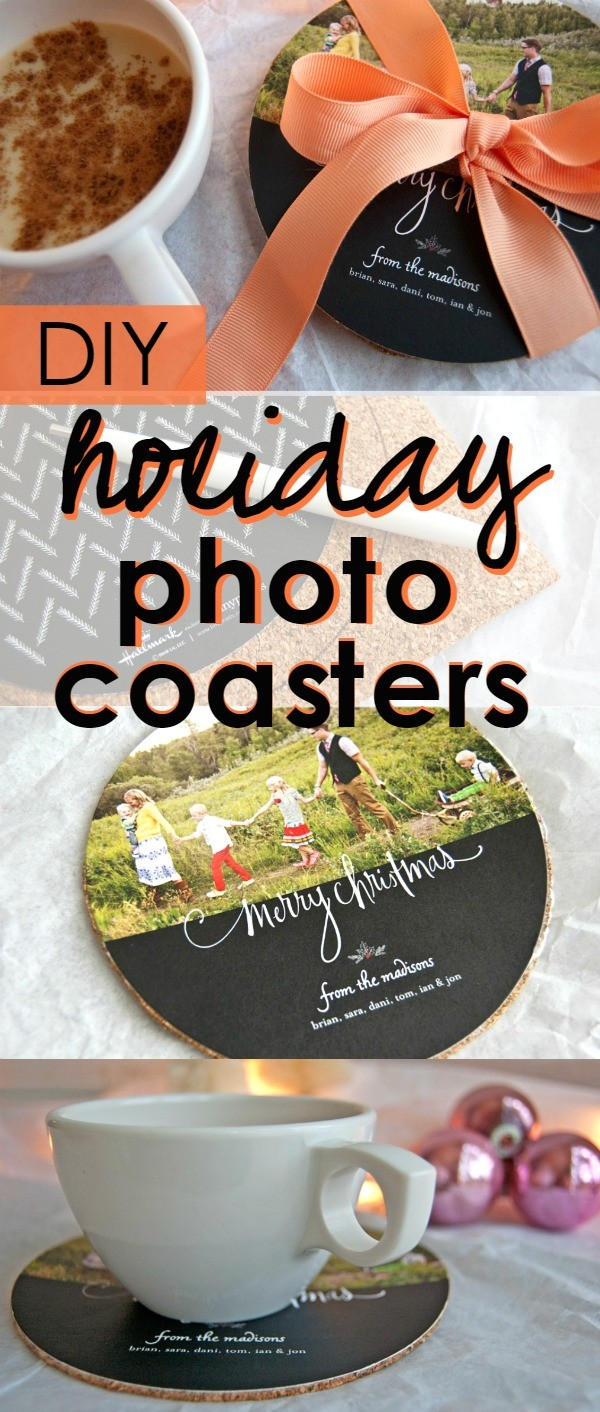 DIY holiday photo coasters - turn your holiday cards into coasters with this simple holiday tutorial. Such a cute idea to give as a gift!