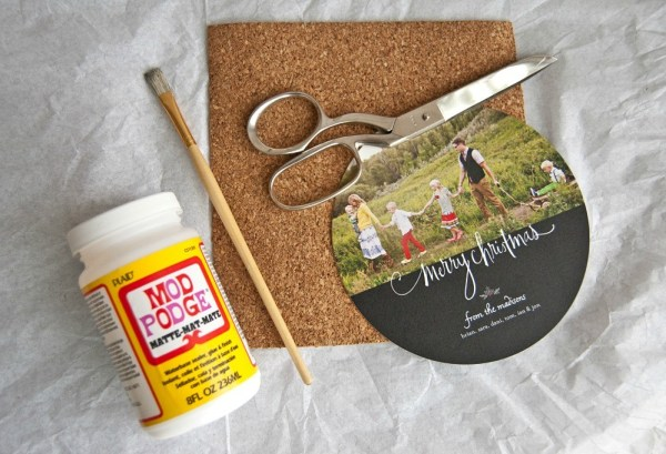 Making DIY Coasters out of Holiday Cards