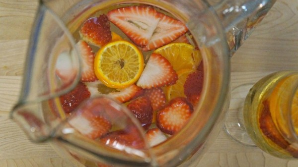 Orange and strawberry sangria with white wine