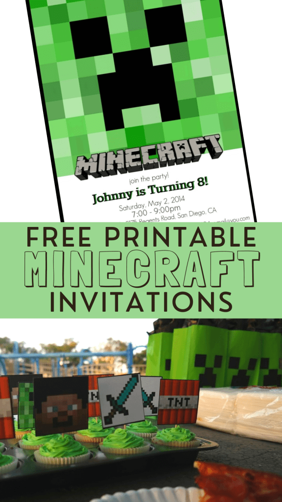 Free Printable Minecraft Party Invitations - Customize Your Own birthday party invite with this template