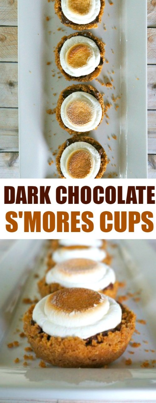 Dark Chocolate Sea Salt Smores Cups Dessert Recipe - no need to sit around the campfire, you can make these s'mores in your oven any time of year!