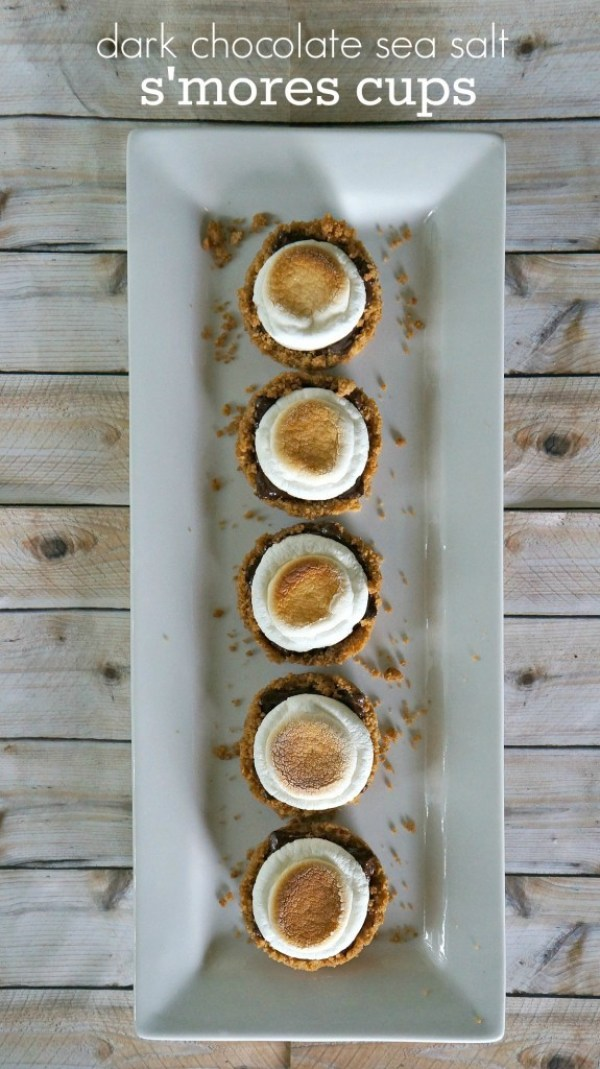 Dark chocolate sea salt smores cups dessert recipe