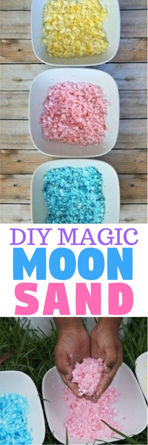 DIY Magic Moon Sand - this fun moon sand recipe is easy to make and the kids love playing with it!