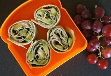 Turkey and avocado roll ups with pesto