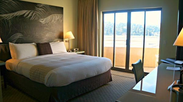 The Acqua Hotel, Inside the Waterfront Junior Suite, Main room with king sized bed