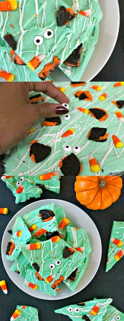 How to make monster Halloween candy bark - Halloween chocolate bark | white chocolate bark | fun halloween treats | candy bark ideas | honeyandlime.co