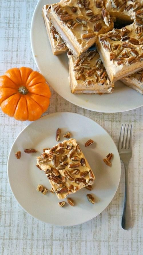 Pumpkin Chiffon Pie Bars Dessert with Pecans - Love these pumpkin pie bars!
