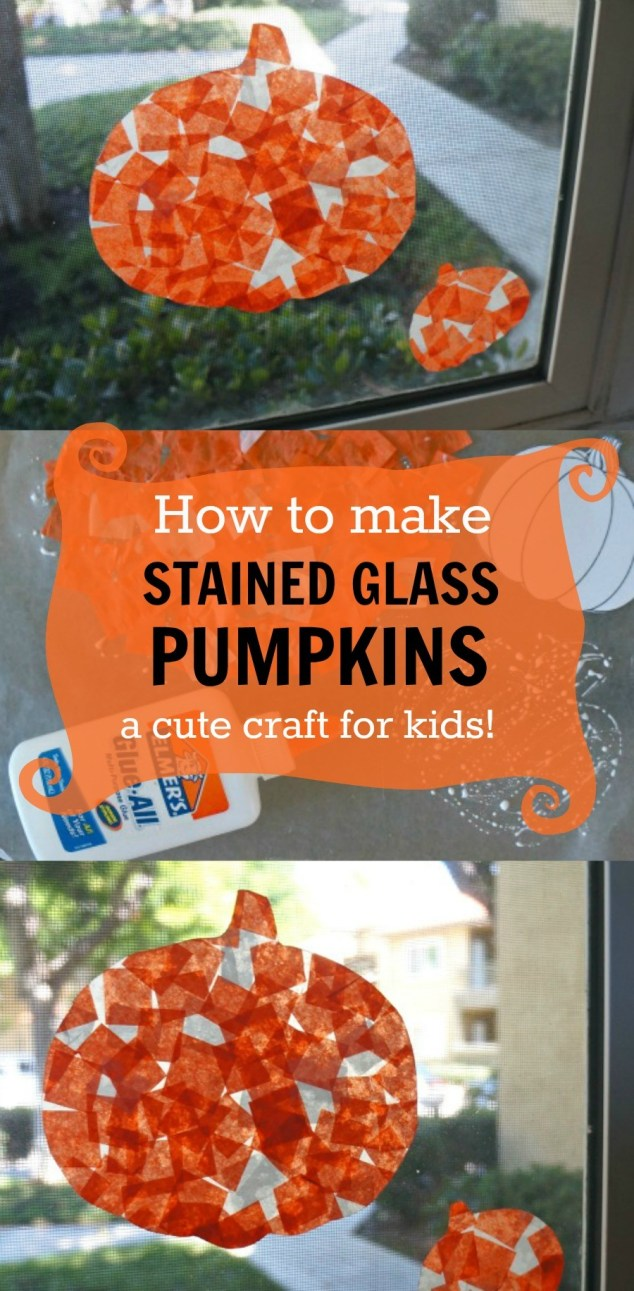 Stained Glass Tissue Paper Pumpkins, A Cute Fall Craft for Kids!