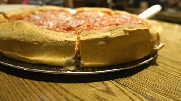 Super thick crust on deep dish pizza at Regents Pizzeria