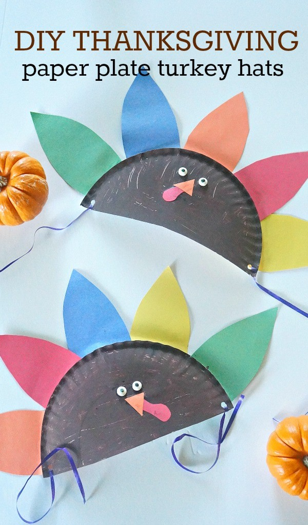Thanksgiving crafts for kids - make these DIY Thanksgiving paper plate hats craft