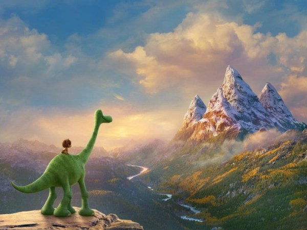 The Good Dinosaur Still Arlo and Spot looking at claw mountain