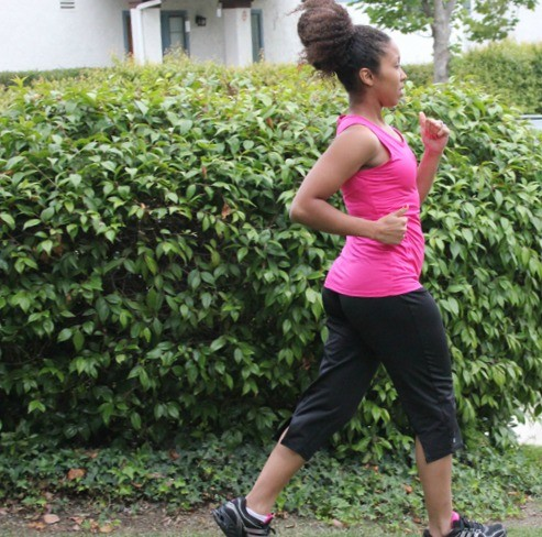 Woman running working out