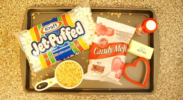 Ingredients for rice crispy hearts dipped in chocolate