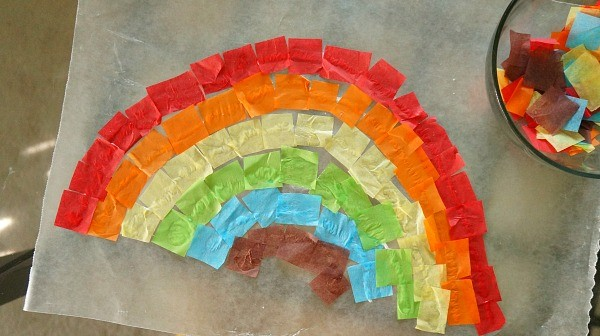 How to make a rainbow suncatcher craft for kids, finished rainbow