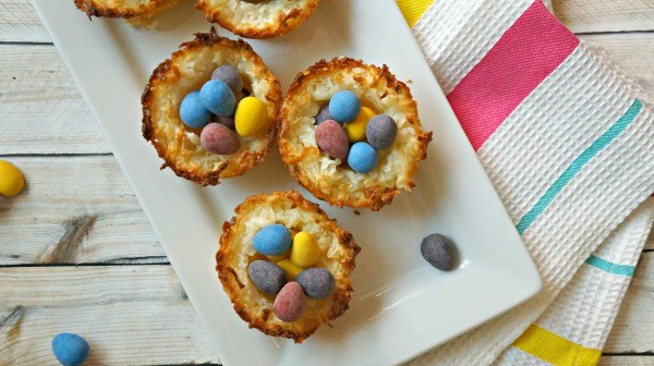 Easter coconut macaroon birds nest cookies